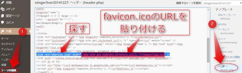 ファビコンの設置場所、URL入れる場所の説明画像
