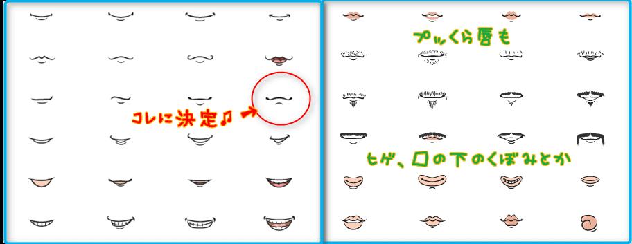 口シンプルなものから、プッくら唇、髭、口の下のくぼみまである