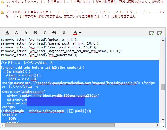 サーバーFTPのfunctions.php開いてみた画像エラー画面を青く反転