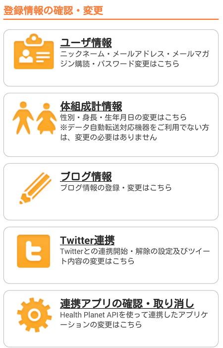 ヘルス プラネットの管理画面