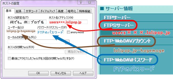 FFFTPの設定:FTPのサーバー・アカウント・パスワードの場所