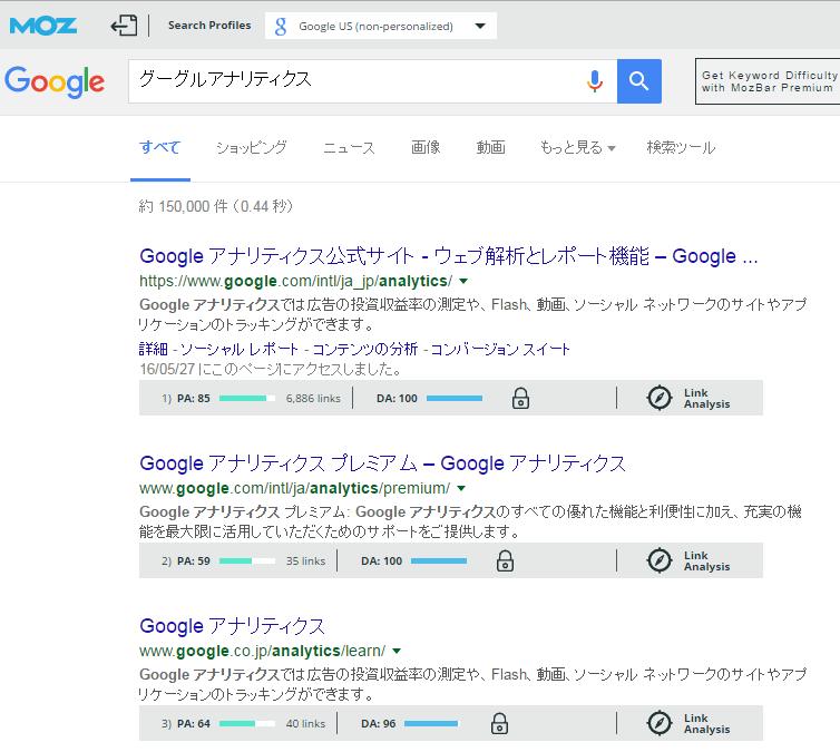 MozBarを導入した検索結果画像