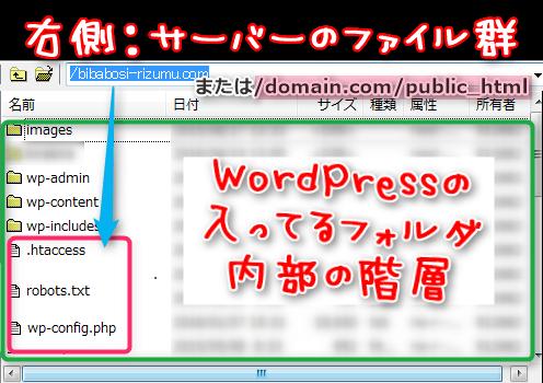 FTPソフト画面:WordPressが入っているフォルダ内にあるファイル