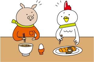 豚さんと、にわとりさんの絵