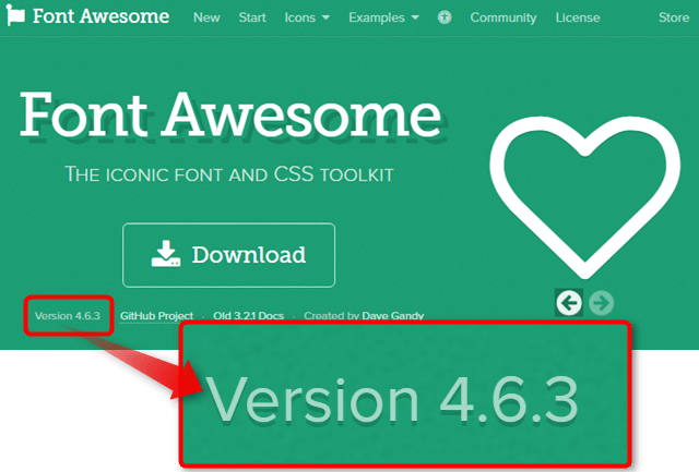 "<a href=""http://fontawesome.io/"" target=""_blank"">Font Awesomeトップページ</a>:Versin4.6.3と確認できる"