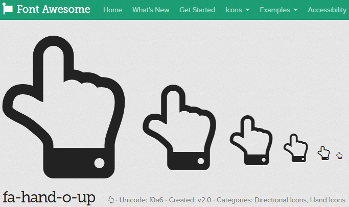 Font Awesomeページで指fa-hando-o-upを選択