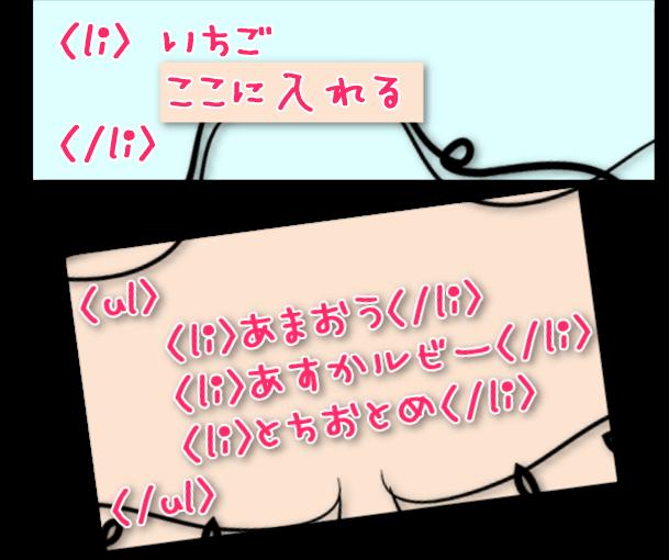 ul liの中にul liを入れ子にするHTML例。
