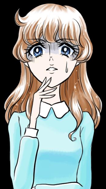 昔の少女漫画風イラスト:顔面蒼白