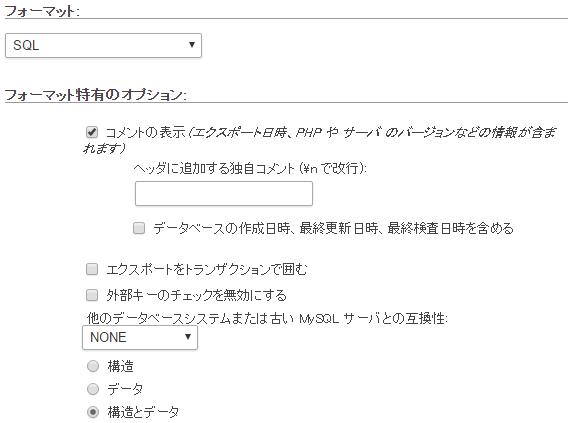 フォーマット・特有のオプション画面