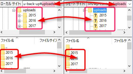 バックアップ・復元するときは、下層ディレクトリを左右同じ階層に合わせる