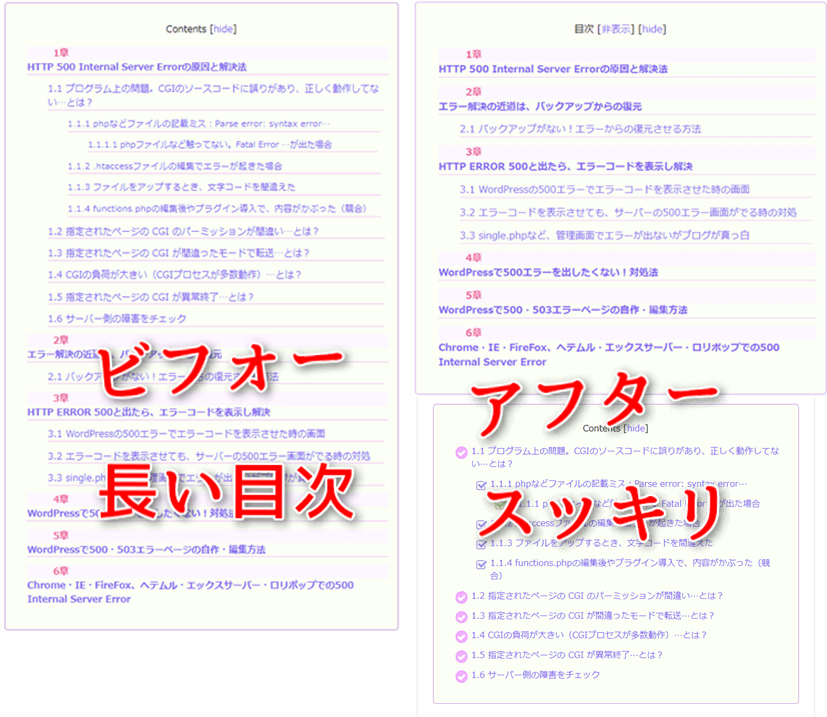 TOC+のHTMLをコピペして半オリジナル目次を作成した例